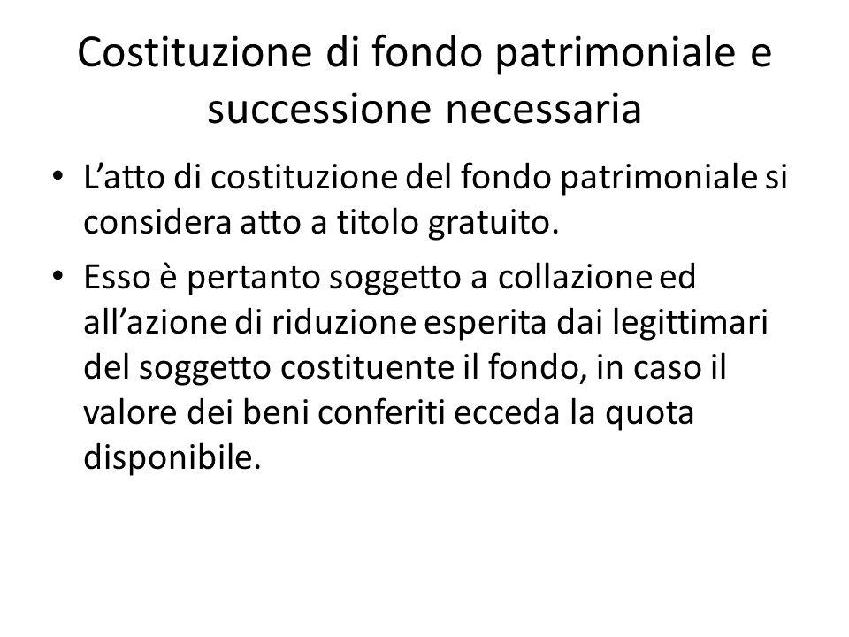 Costituzione di fondo patrimoniale e successione necessaria