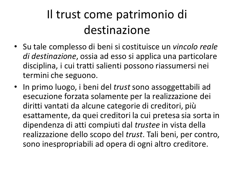 Il trust come patrimonio di destinazione