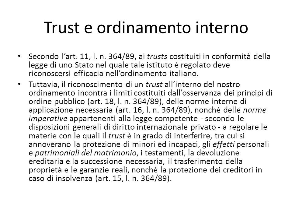Trust e ordinamento interno