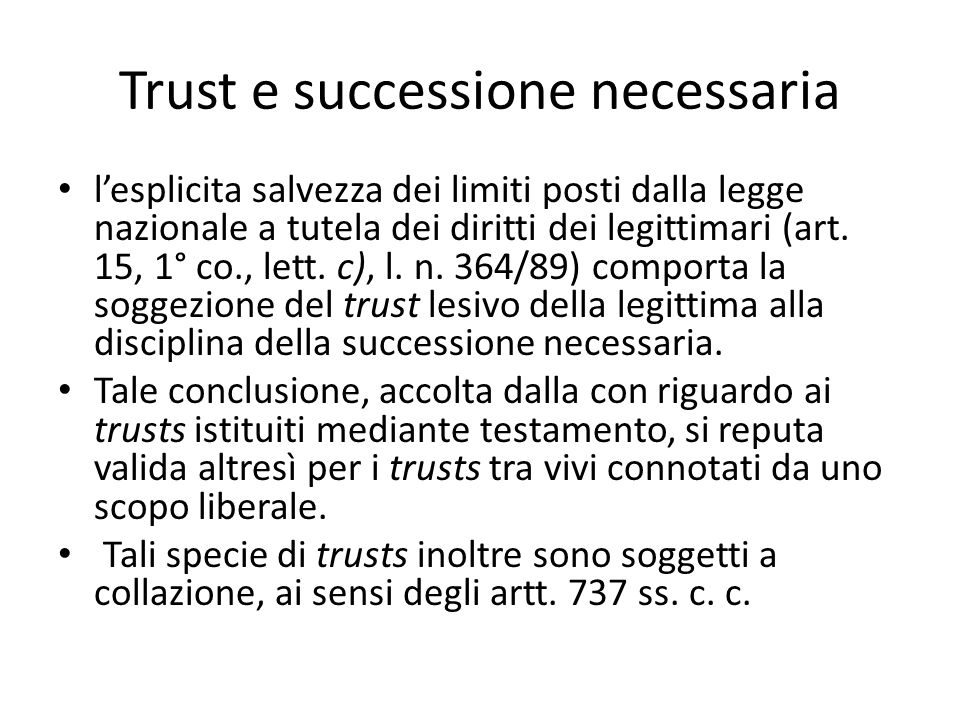 Trust e successione necessaria