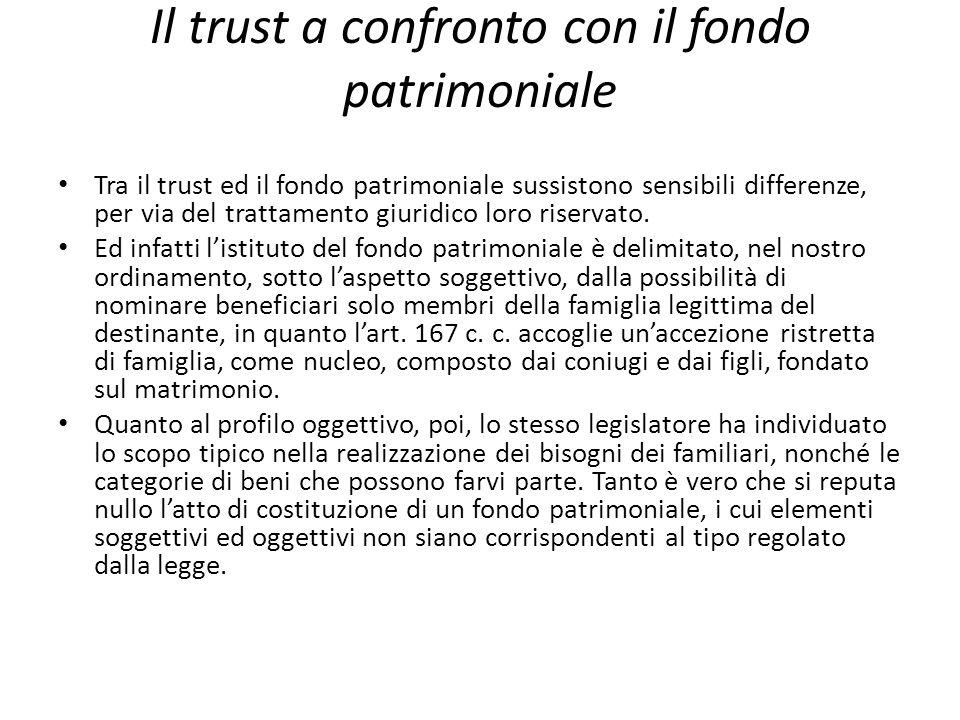 Il trust a confronto con il fondo patrimoniale