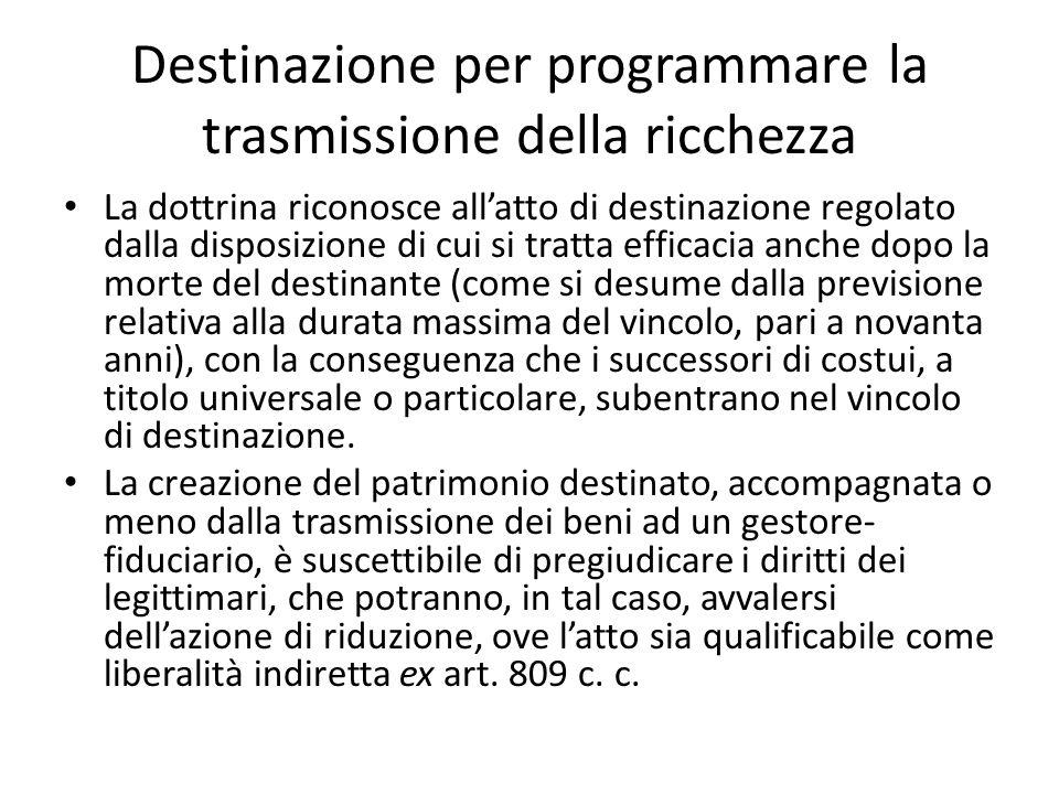 Destinazione per programmare la trasmissione della ricchezza