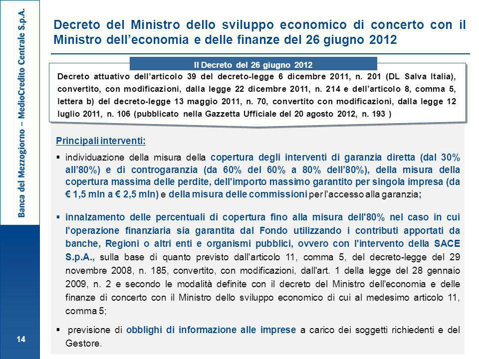 Decreto del Ministro dello sviluppo economico di concerto con il Ministro dell'economia e delle finanze del 26 giugno 2012