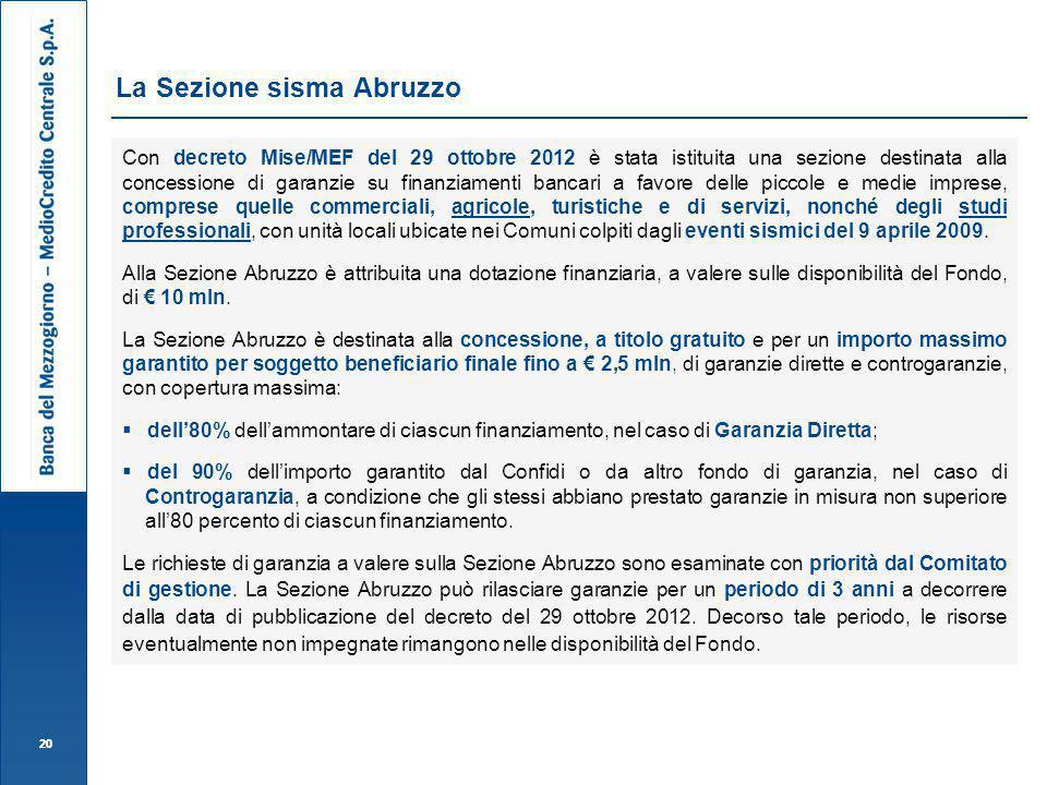 La Sezione sisma Abruzzo