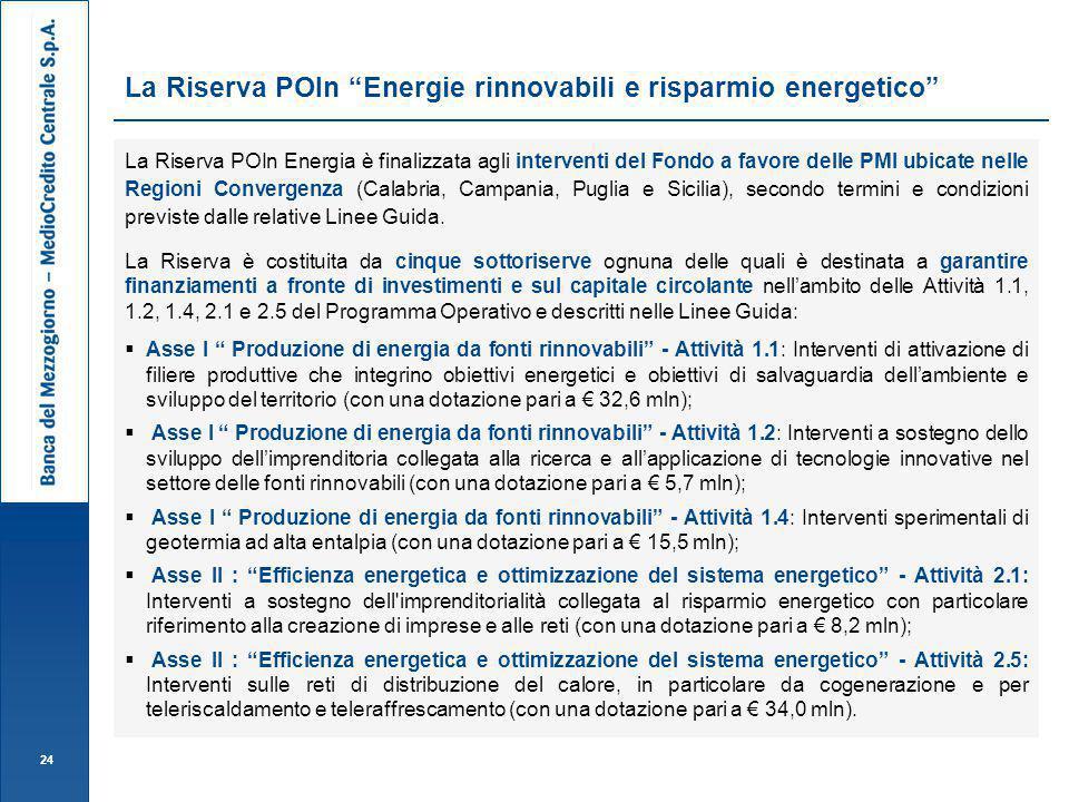 La Riserva POIn Energie rinnovabili e risparmio energetico