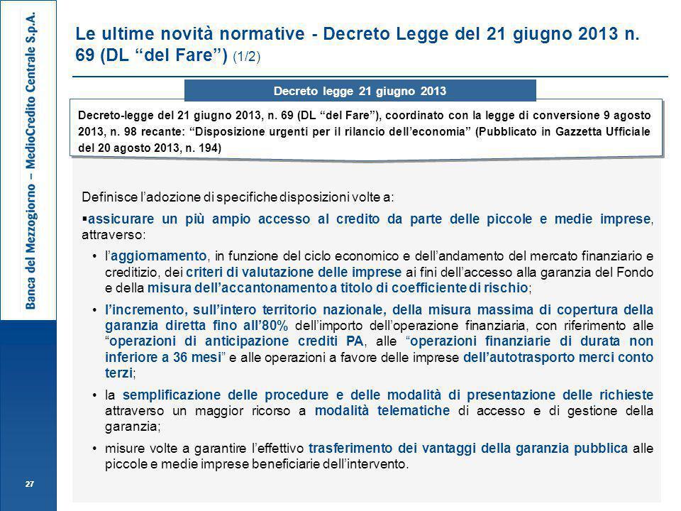 Le ultime novità normative - Decreto Legge del 21 giugno 2013 n