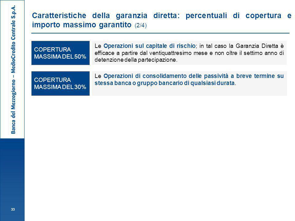 Caratteristiche della garanzia diretta: percentuali di copertura e importo massimo garantito (2/4)