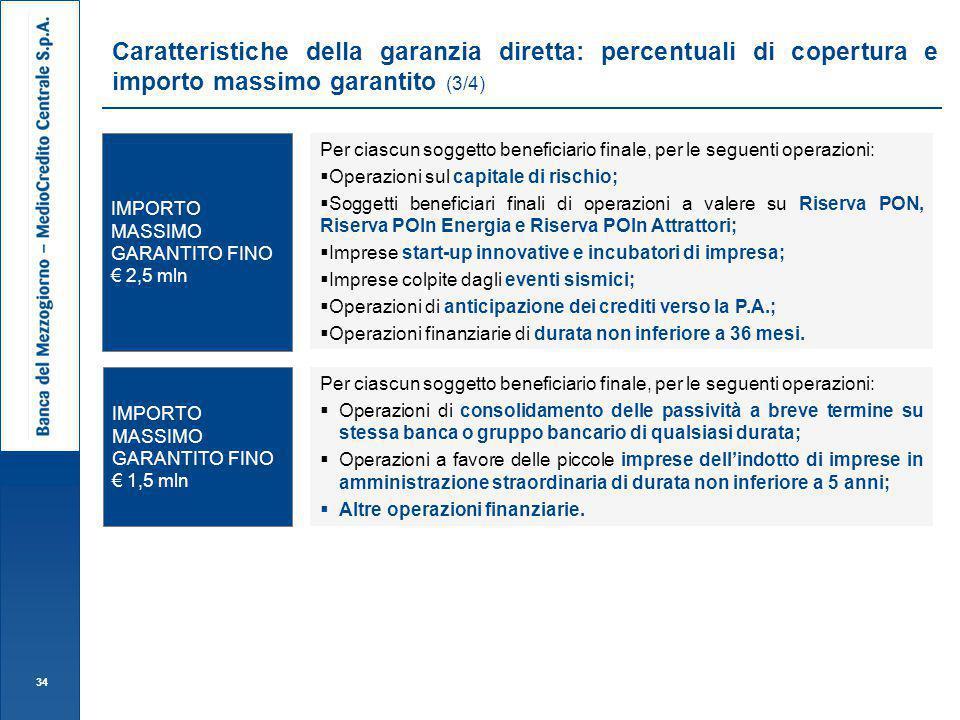 Caratteristiche della garanzia diretta: percentuali di copertura e importo massimo garantito (3/4)