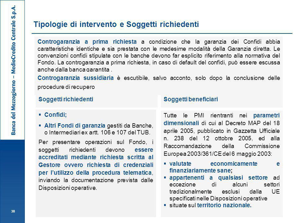 Tipologie di intervento e Soggetti richiedenti