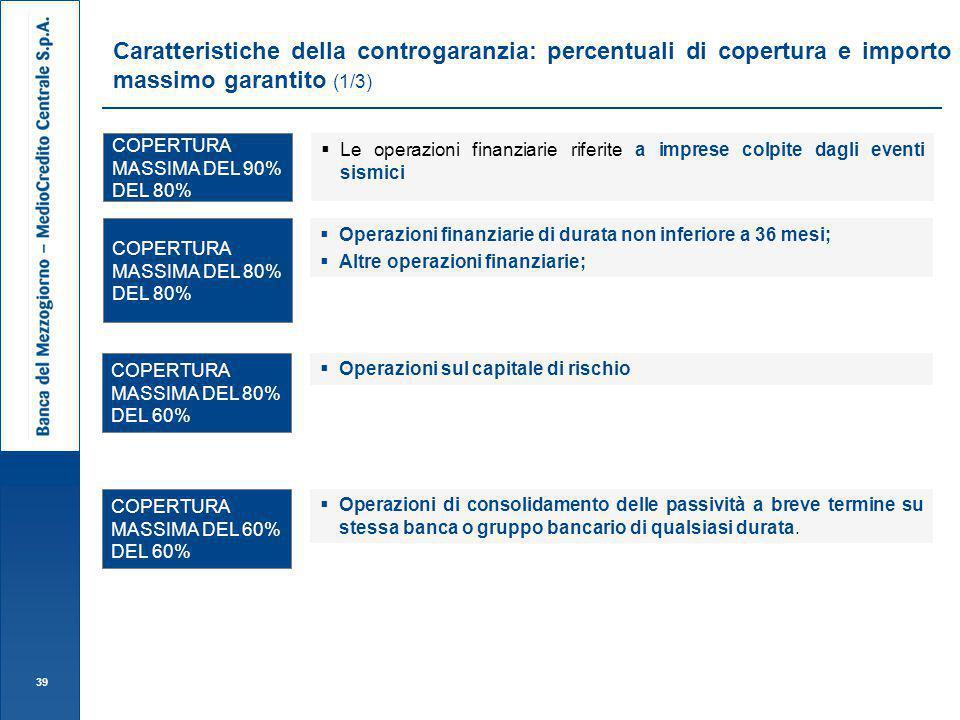 Caratteristiche della controgaranzia: percentuali di copertura e importo massimo garantito (1/3)