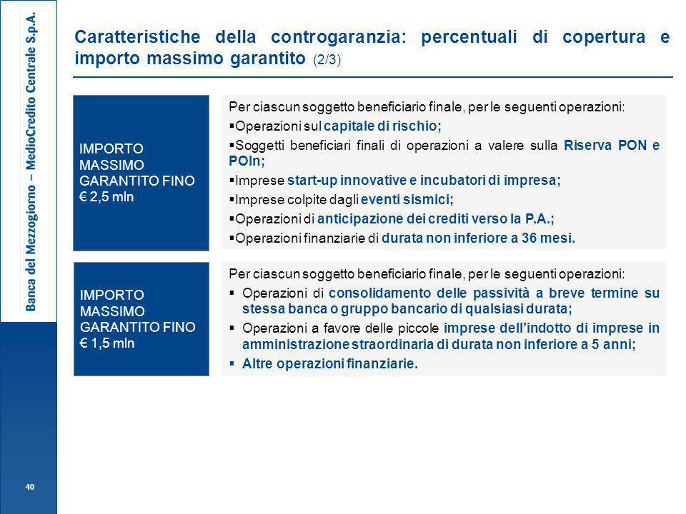 Caratteristiche della controgaranzia: percentuali di copertura e importo massimo garantito (2/3)