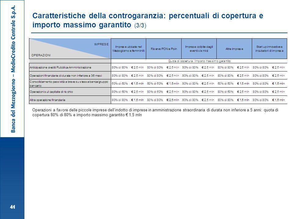 Caratteristiche della controgaranzia: percentuali di copertura e importo massimo garantito (3/3)