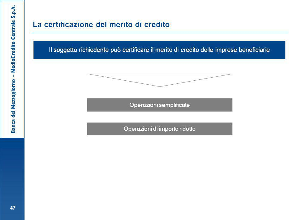La certificazione del merito di credito