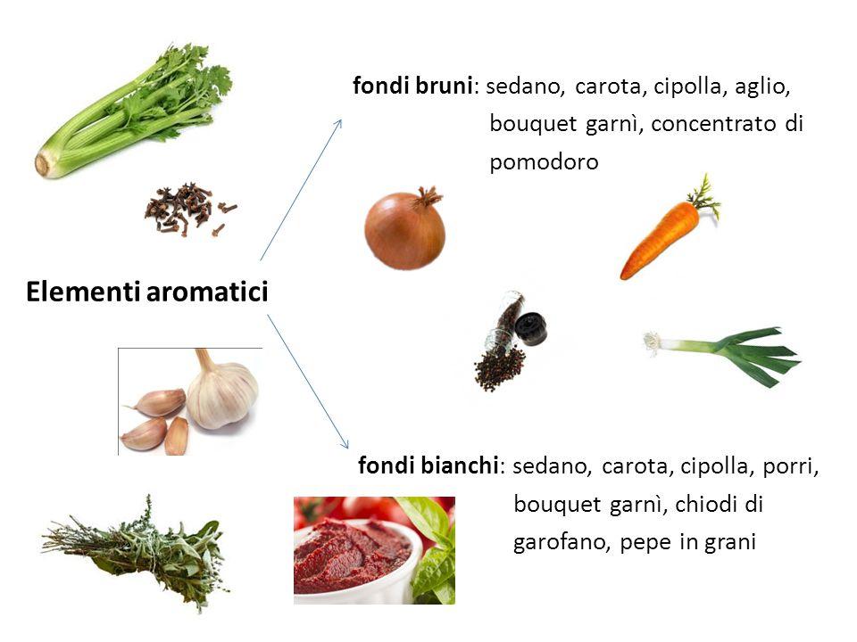 Elementi aromatici fondi bruni: sedano, carota, cipolla, aglio,