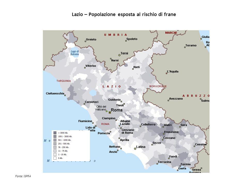 Lazio – Popolazione esposta al rischio di frane