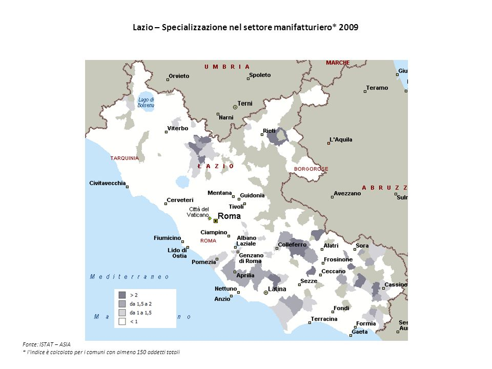 Lazio – Specializzazione nel settore manifatturiero* 2009