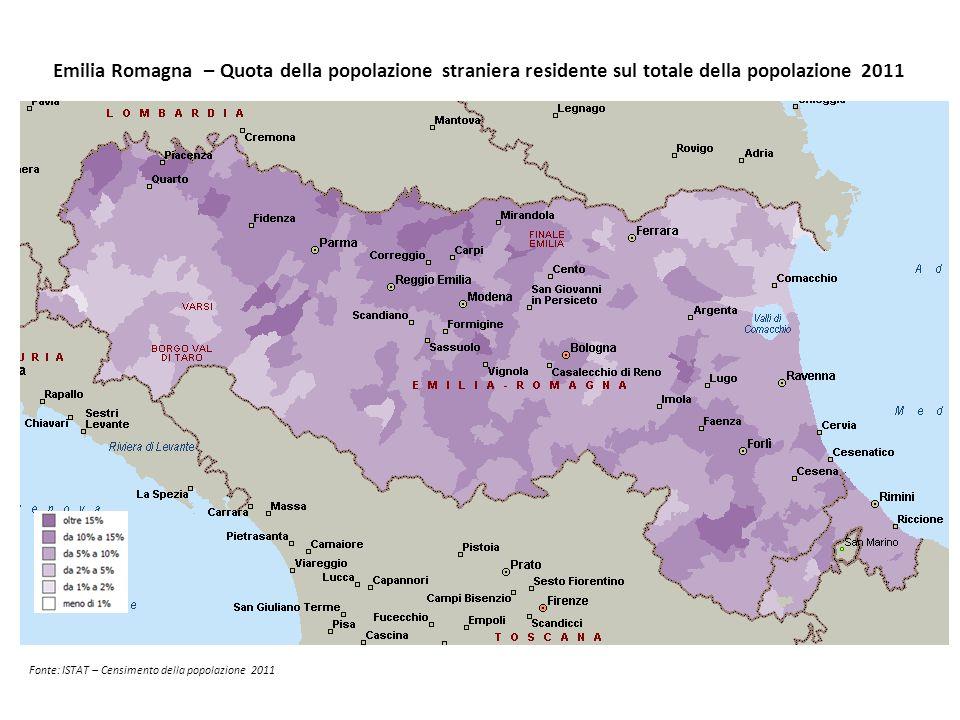 Emilia Romagna – Quota della popolazione straniera residente sul totale della popolazione 2011
