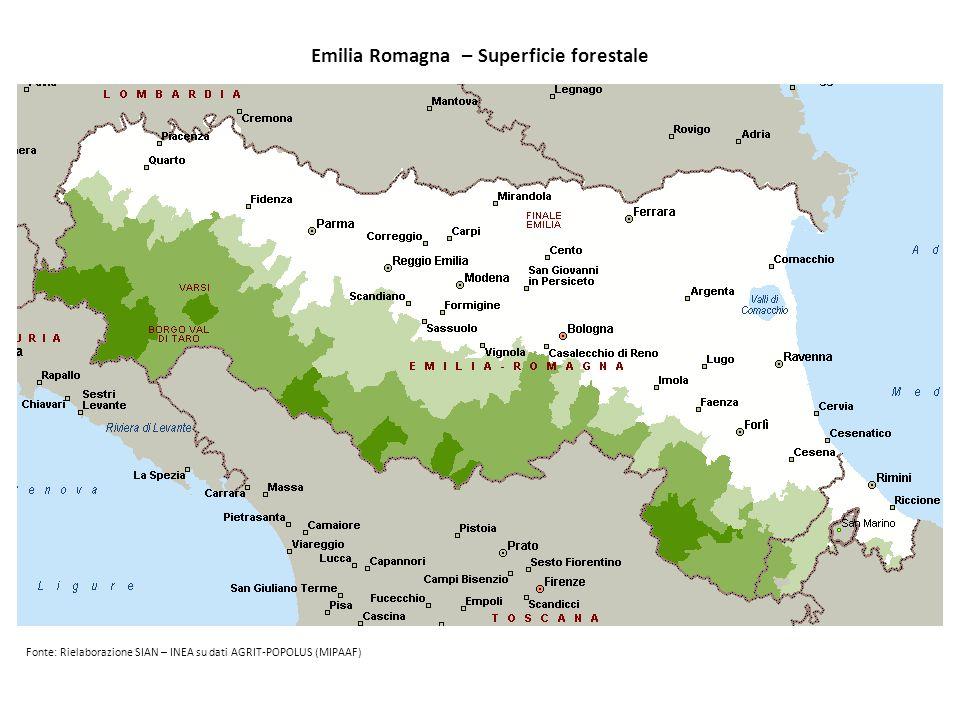 Emilia Romagna – Superficie forestale
