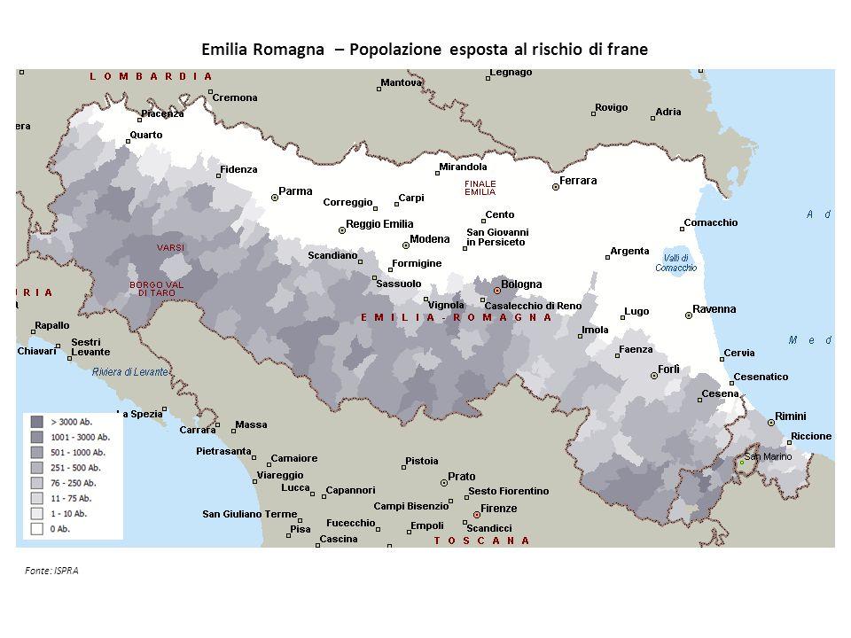 Emilia Romagna – Popolazione esposta al rischio di frane