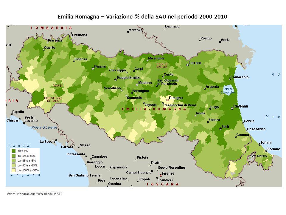 Emilia Romagna – Variazione % della SAU nel periodo 2000-2010