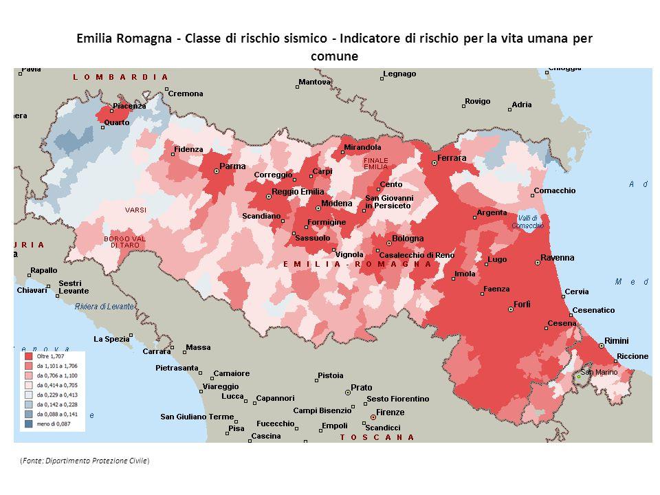 Emilia Romagna - Classe di rischio sismico - Indicatore di rischio per la vita umana per comune