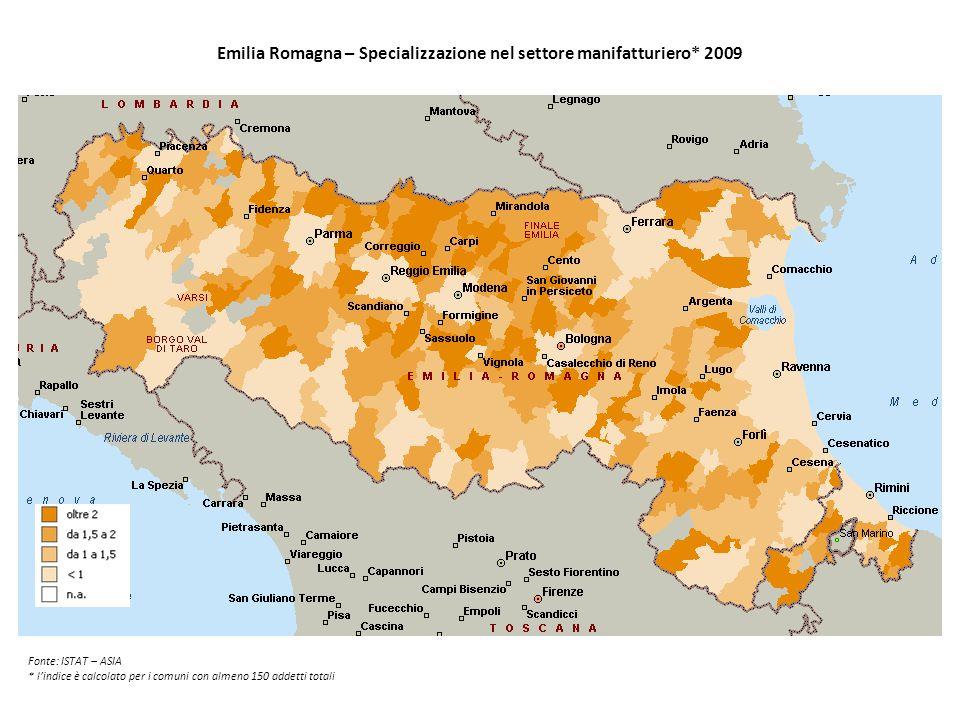 Emilia Romagna – Specializzazione nel settore manifatturiero* 2009