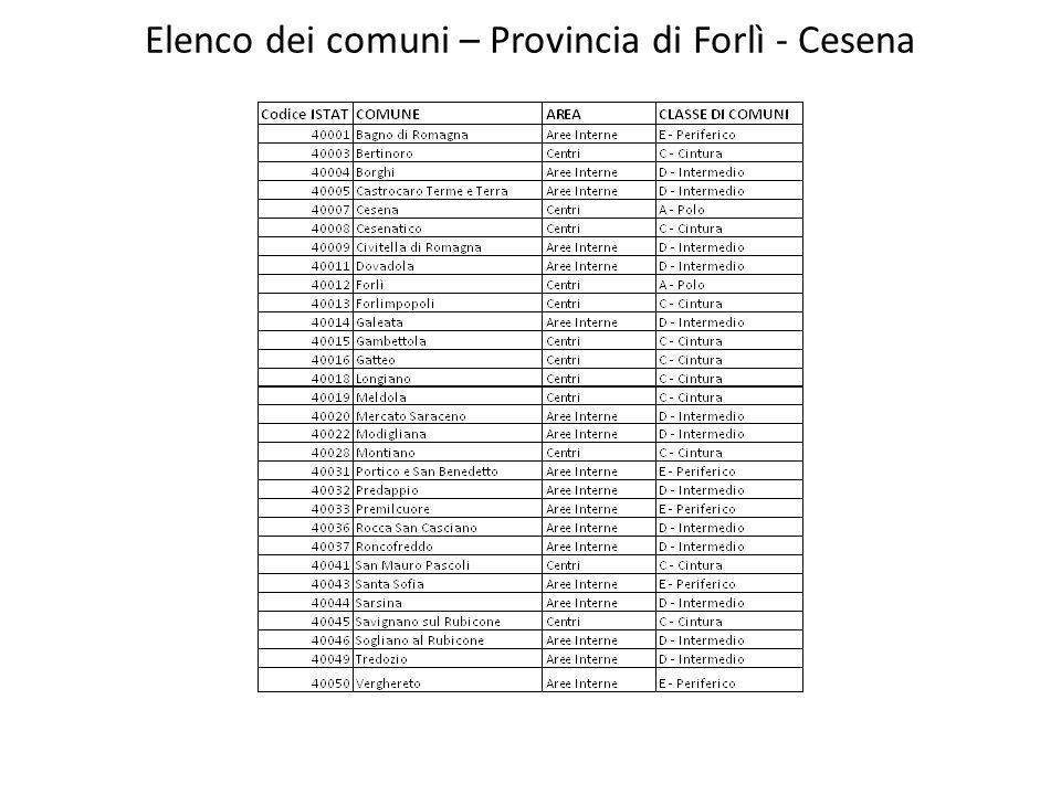 Elenco dei comuni – Provincia di Forlì - Cesena