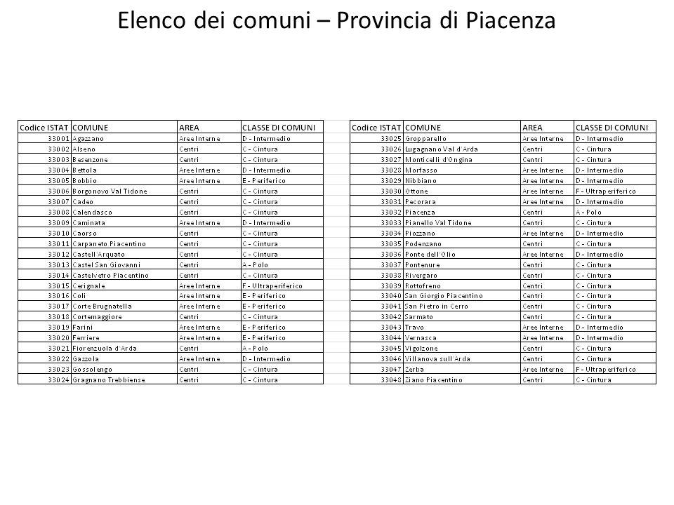 Elenco dei comuni – Provincia di Piacenza