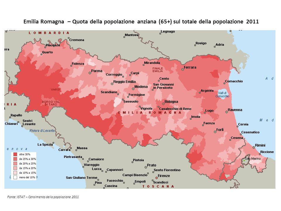 Emilia Romagna – Quota della popolazione anziana (65+) sul totale della popolazione 2011