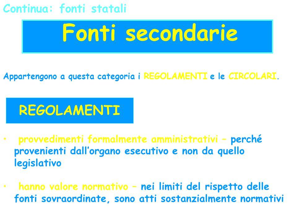 Fonti secondarie REGOLAMENTI: REGOLAMENTI Continua: fonti statali