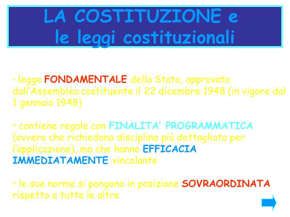 le leggi costituzionali
