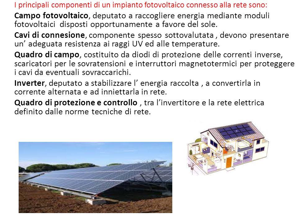 I principali componenti di un impianto fotovoltaico connesso alla rete sono: