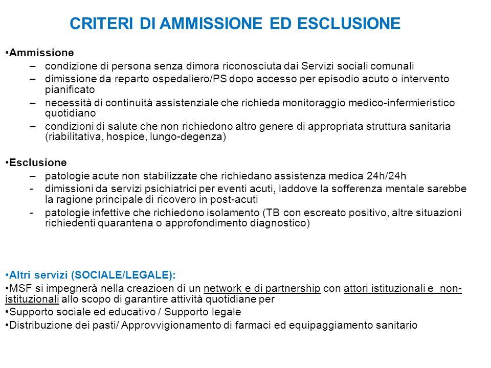 CRITERI DI AMMISSIONE ED ESCLUSIONE
