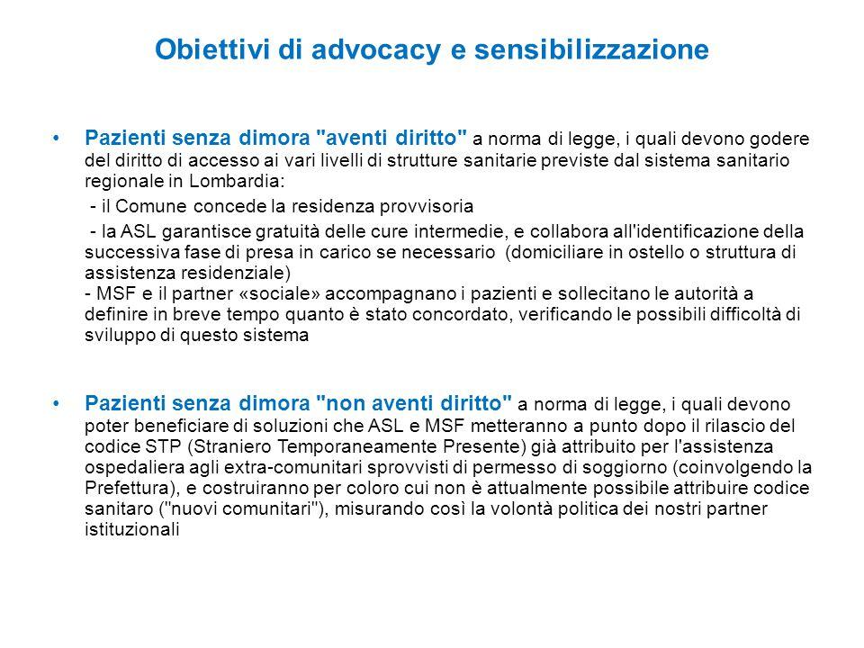 Obiettivi di advocacy e sensibilizzazione