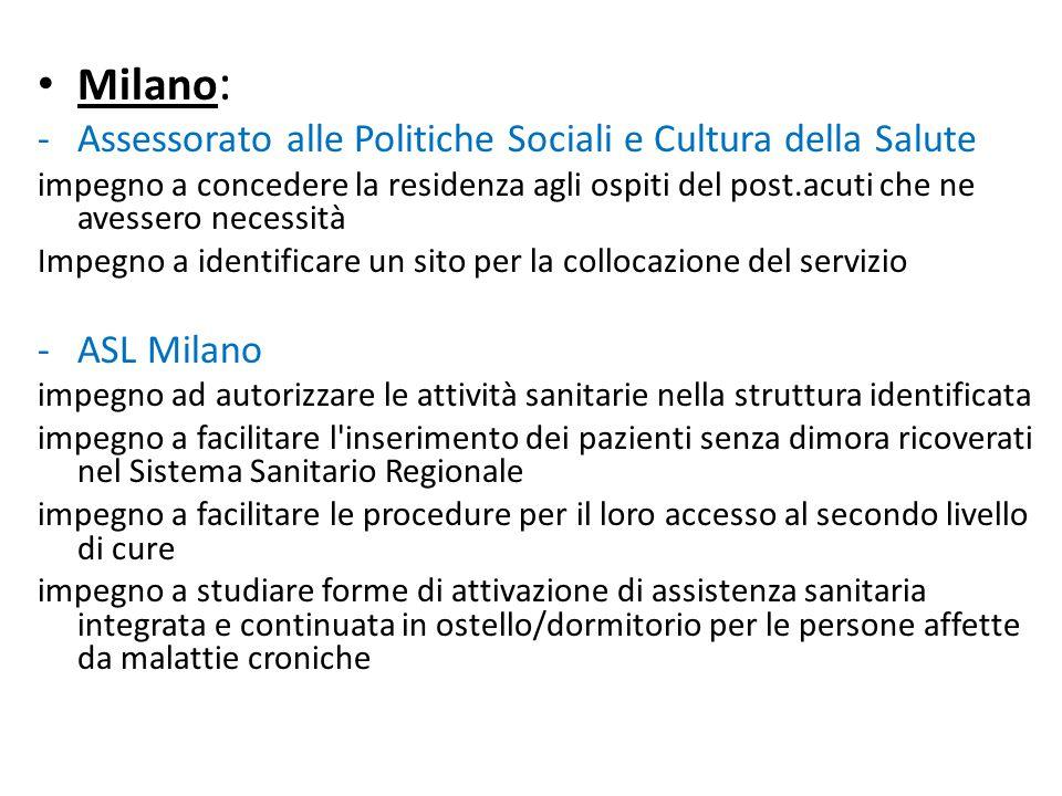 Milano: Assessorato alle Politiche Sociali e Cultura della Salute
