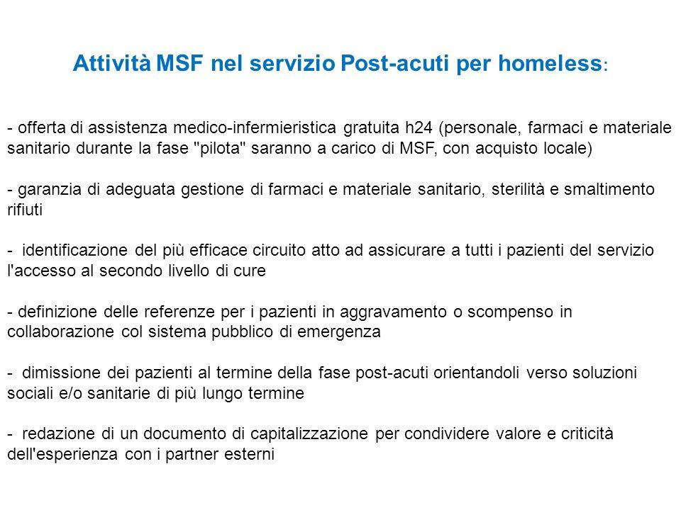 Attività MSF nel servizio Post-acuti per homeless: