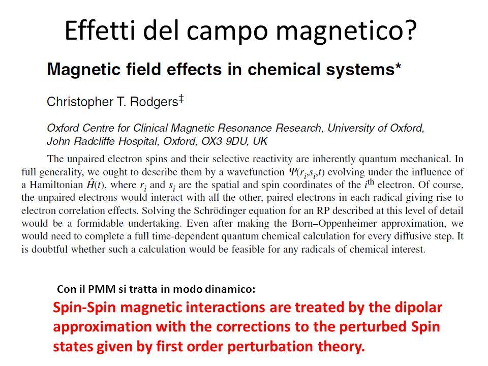 Effetti del campo magnetico