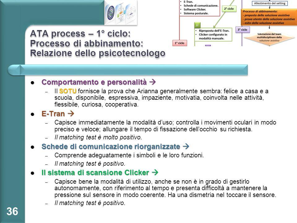 ATA process – 1° ciclo: Processo di abbinamento: Relazione dello psicotecnologo