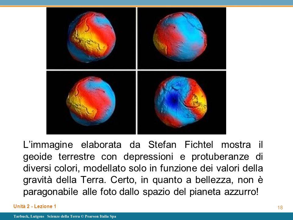 L'immagine elaborata da Stefan Fichtel mostra il geoide terrestre con depressioni e protuberanze di diversi colori, modellato solo in funzione dei valori della gravità della Terra. Certo, in quanto a bellezza, non è paragonabile alle foto dallo spazio del pianeta azzurro!