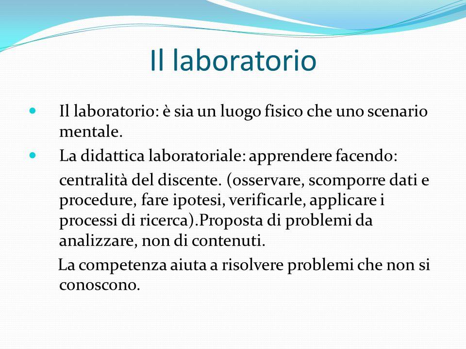 Il laboratorio Il laboratorio: è sia un luogo fisico che uno scenario mentale. La didattica laboratoriale: apprendere facendo: