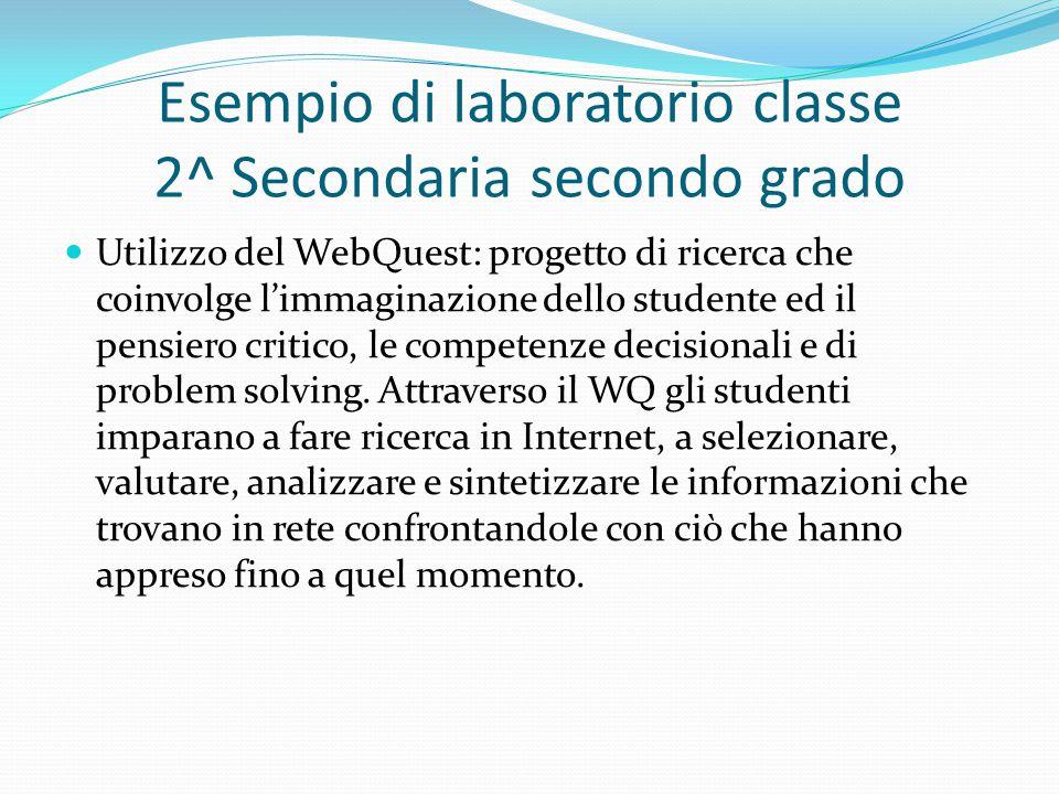 Esempio di laboratorio classe 2^ Secondaria secondo grado