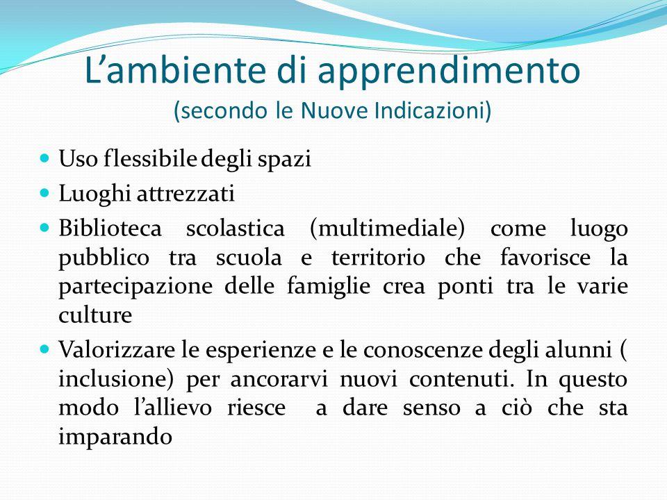 L'ambiente di apprendimento (secondo le Nuove Indicazioni)