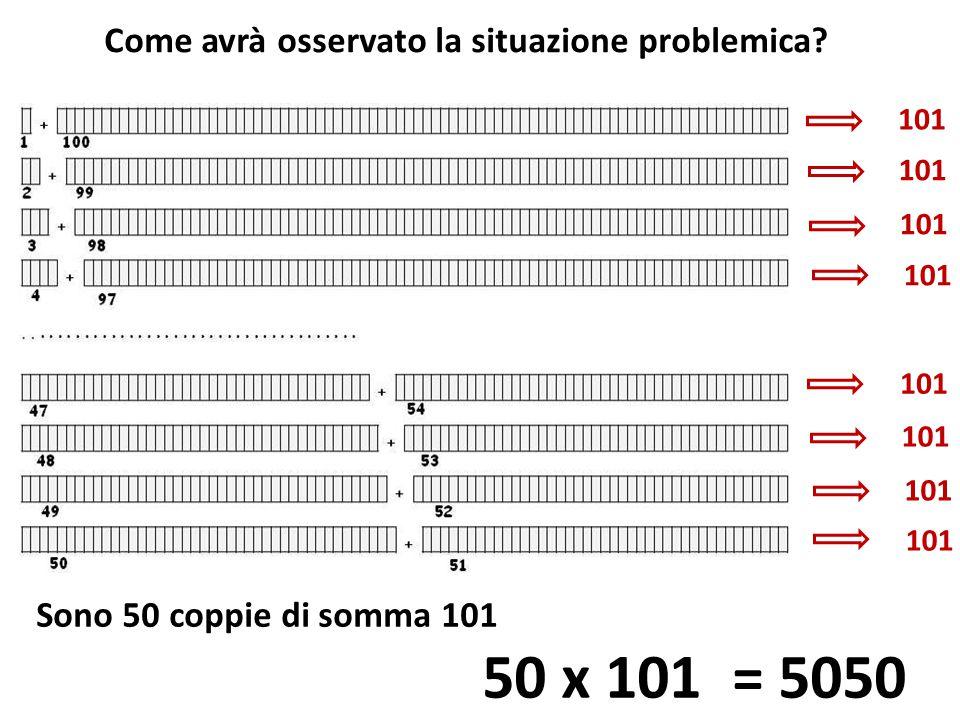 50 x 101 = 5050 Come avrà osservato la situazione problemica