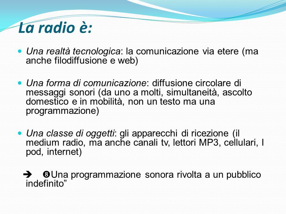La radio è: Una realtà tecnologica: la comunicazione via etere (ma anche filodiffusione e web)