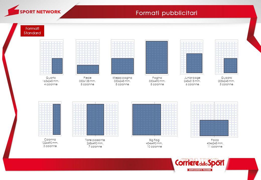 Formati pubblicitari Formati Standard Quarto 163x245 mm. 4 colonne
