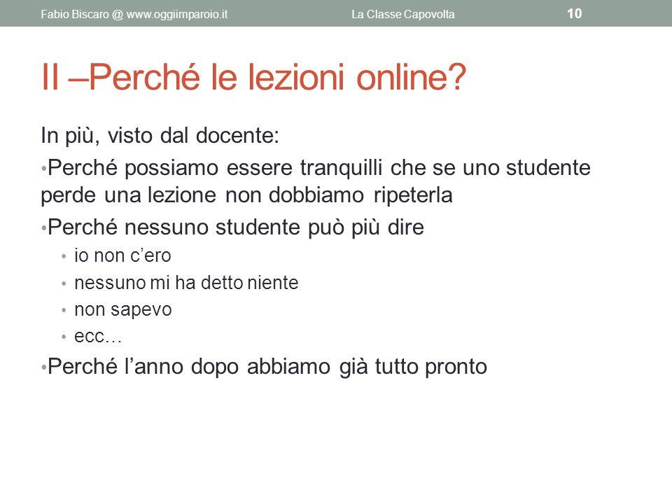 II –Perché le lezioni online