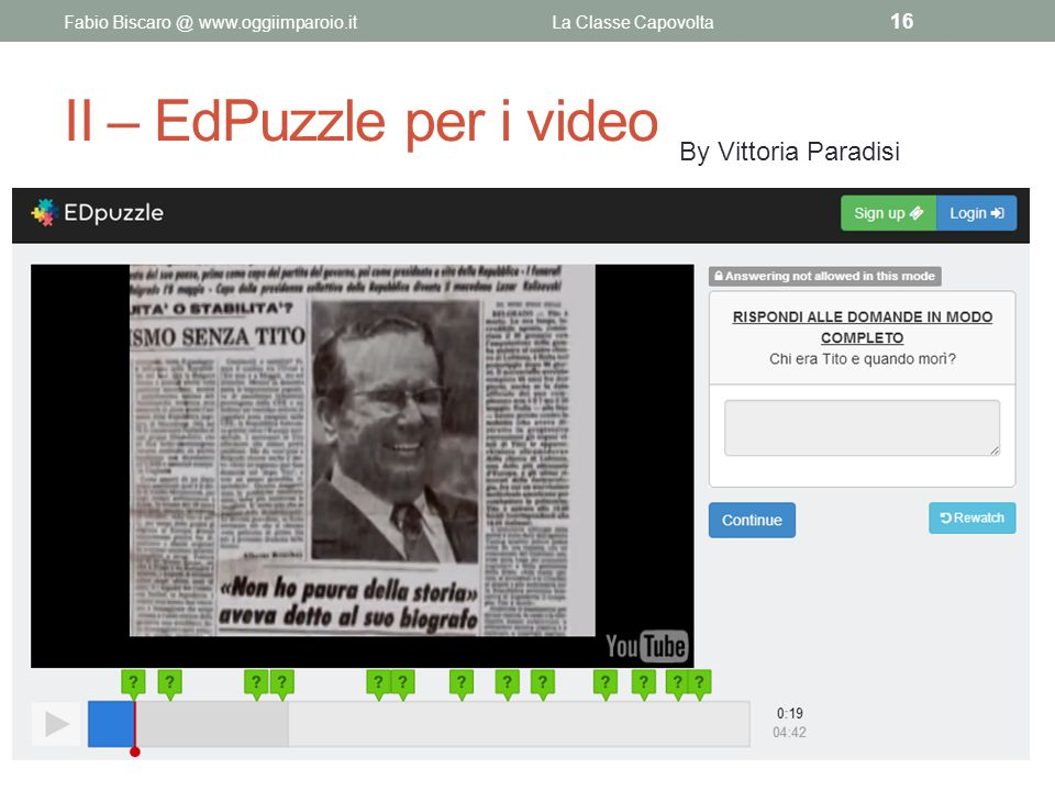 II – EdPuzzle per i video
