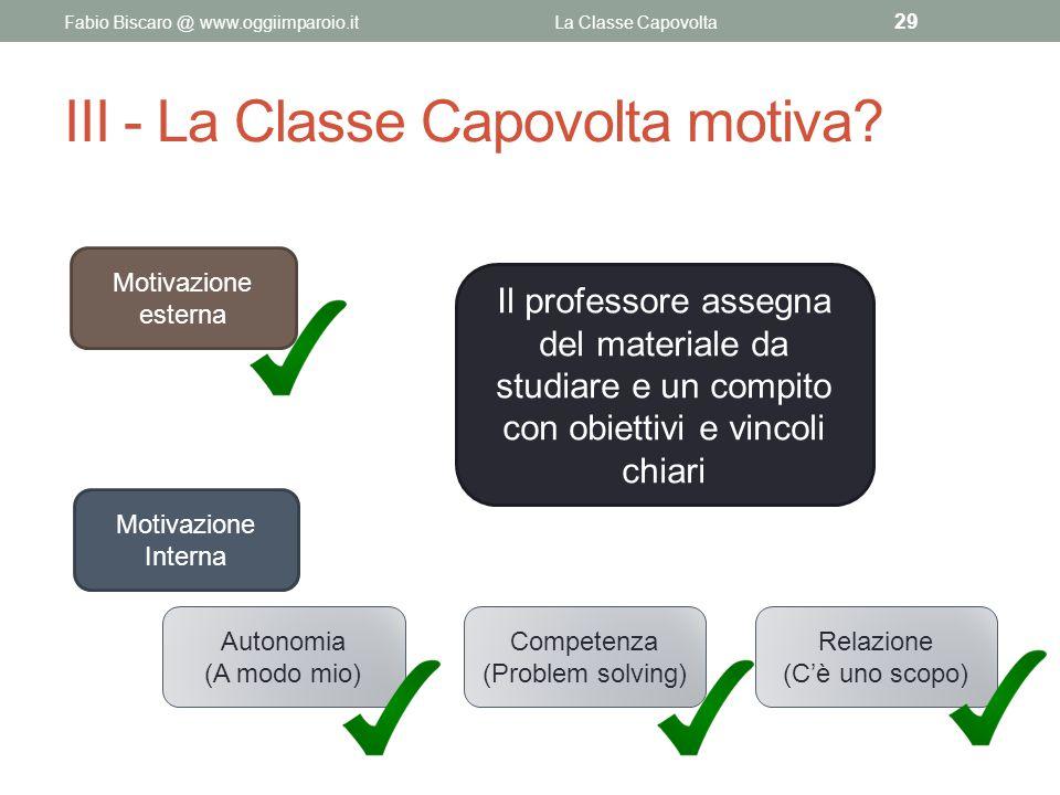 III - La Classe Capovolta motiva