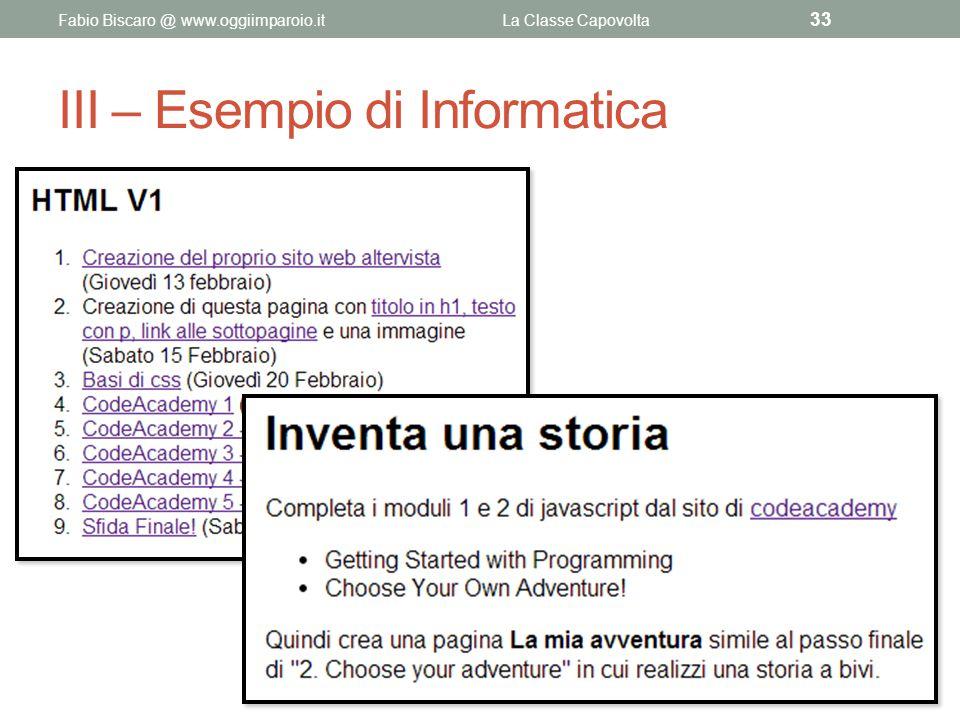 III – Esempio di Informatica