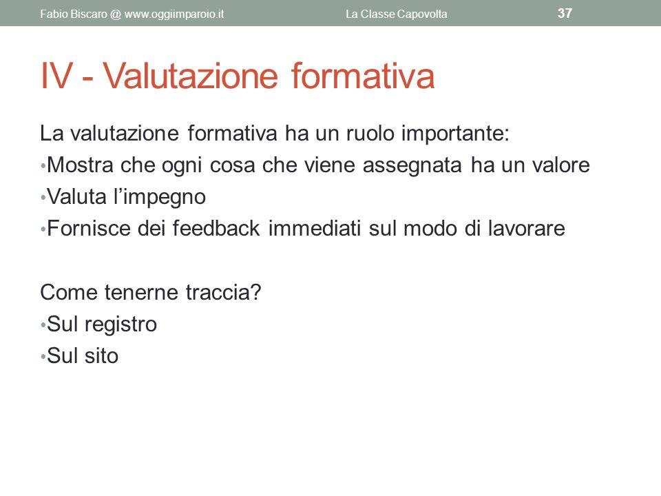 IV - Valutazione formativa